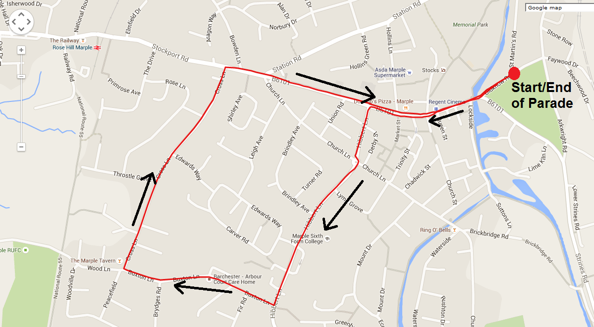 Marple Carnival Parade Route Map
